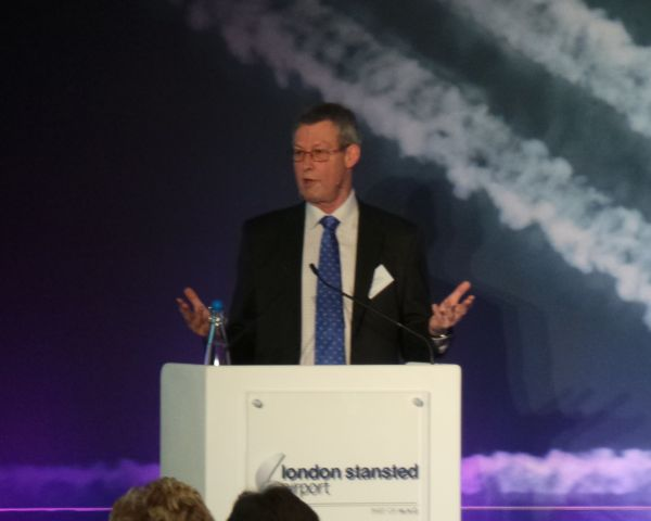 Jim Steer, Founder and Director of Global Transport Consultancy, Steer Davies Gleave, speaking to delegates attending the 14th Stansted Airport Forum on Thursday, Feb 19.